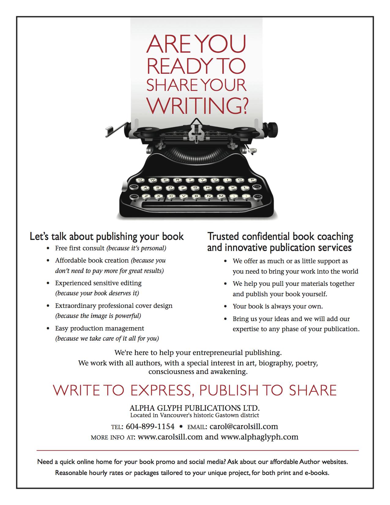 Alpha Glyph Book Publishing Flyer/ Carol Sill